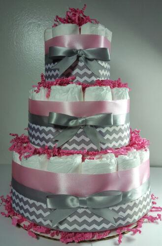 Girl Baby Shower Centerpiece Pink Silver//White Chevron 3 Tier Diaper Cake