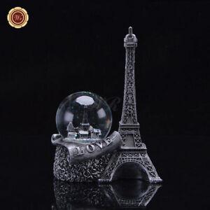 WR-Silber-Paris-Schneekugel-Eiffelturm-Snowglobe-Waterglobe-Hochzeitsgeschenke