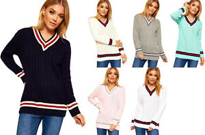 4b05ee98e8d new ladies cable knitted pullover womens v neck cricket jumper plus ...
