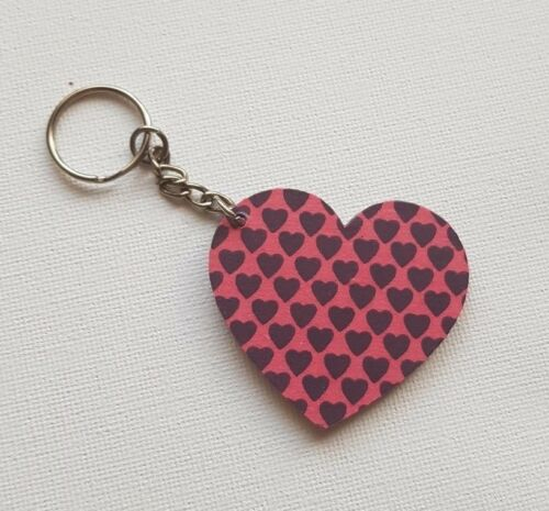 Handmade Wooden Heart Keyring Keychain Pink With Purple Hearts Print