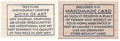 Judikins Handmade Card / Work of Art Rubber Stamp Funny Words for Back of Cards