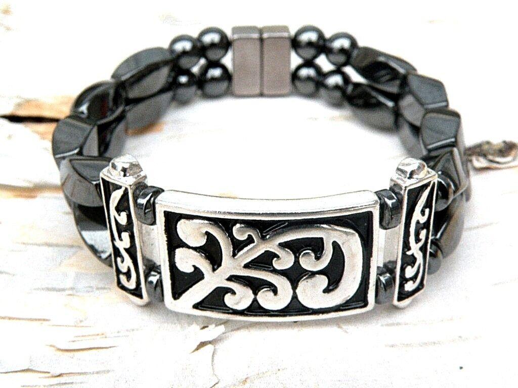 Mens Women Magnetic Hematite Swirl Paisley Filigree Bracelet 2Row LOOK 2 styles