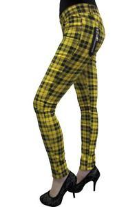 Pantaloni Check Emo Skinny giallo Tartan Abbigliamento vietato Punk Rockabilly Stretch xYwqSnICR5