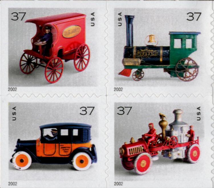 2002 37c Antique Toys, Block of 4 Scott 3642-45 Mint F/
