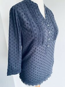 Kew Blue Embroidered Blouse Crochet V-Neck Shirt 3/4 Sleeve Ethnic Boho Size 10