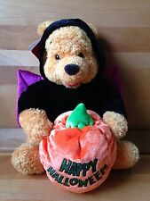"NWT Walt Disney Halloween 12"" Winnie Pooh Black Bat Velvet Costume Plush Pumpkin"