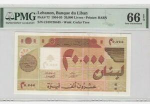 1994-LEBANON-20000-Livres-PMG66-EPQ-GEM-UNC-P-72