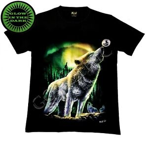 Wild Glow In The Dark T Shirt Howling Wolf Wolves Northern Lights Moon Trees