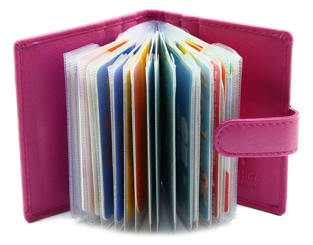 Nouveau Femme du détenteur de la Carte de Crédit Véritable Cuir Souple Carte Wallet Case 210-Fuchsia