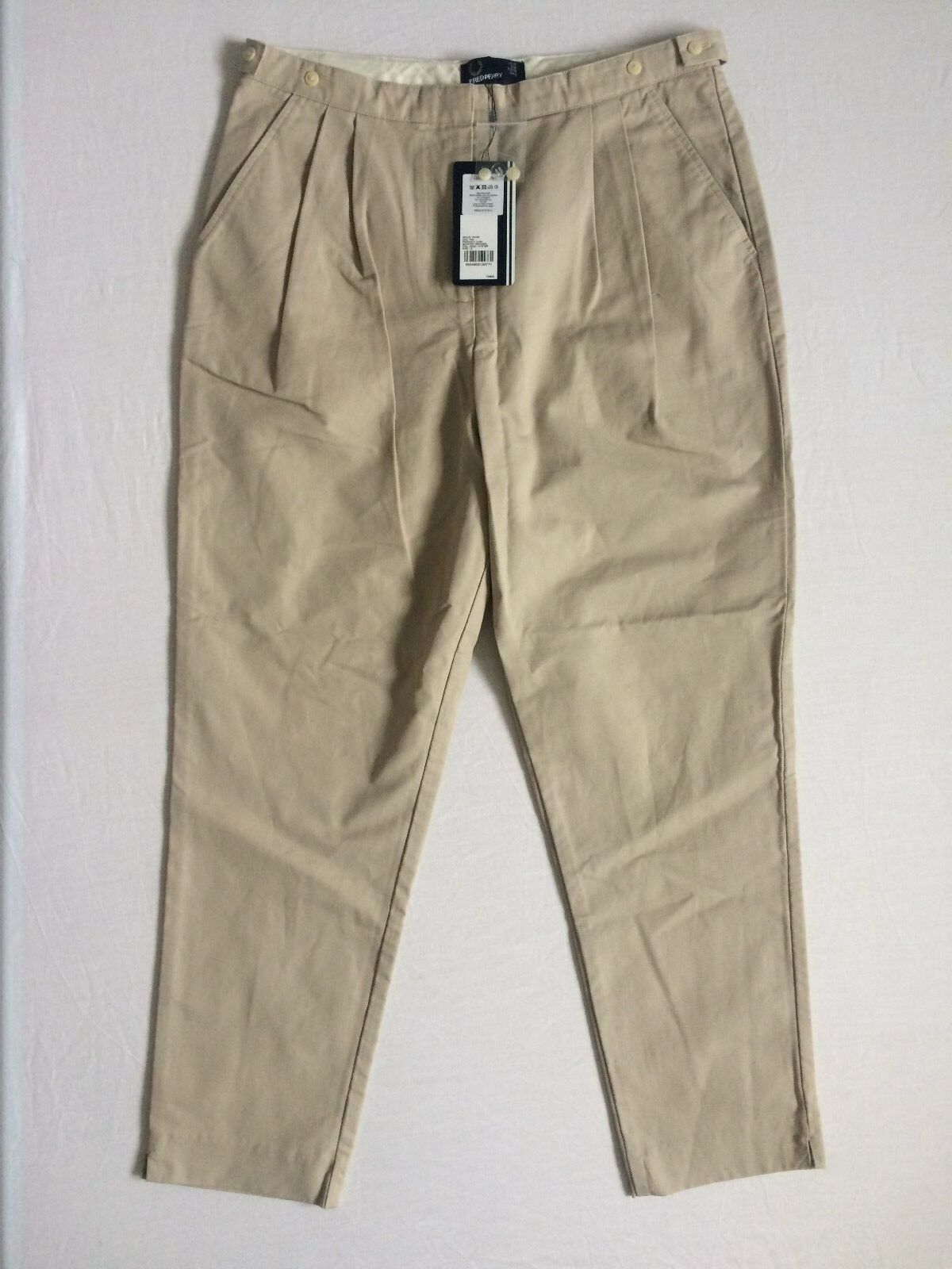 FRED PERRY T9733 OYSTER HIGH WAISTED TROUSERS SIZE 12 UK