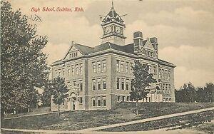 c1907 Lithograph Postcard; High School, Cadillac, MI ...