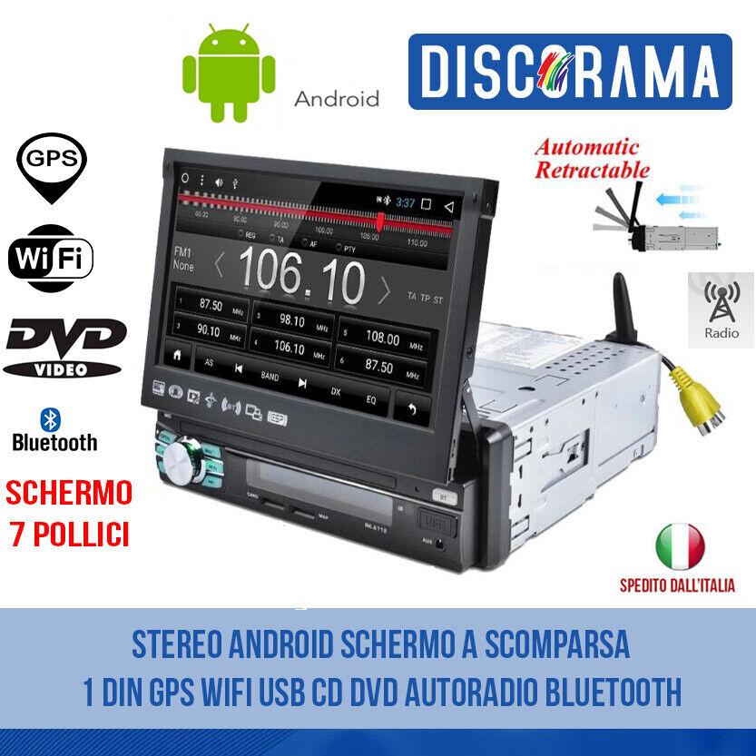 autoradio: STEREO ANDROID SCHERMO A SCOMPARSA 1 DIN GPS WIFI USB CD DVD AUTORADIO BLUETOOTH