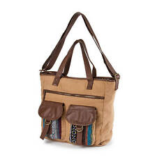 Rio Camel Canvas Messenger Bag with Brown Faux Leather and Yarn Dye Trim - NWT