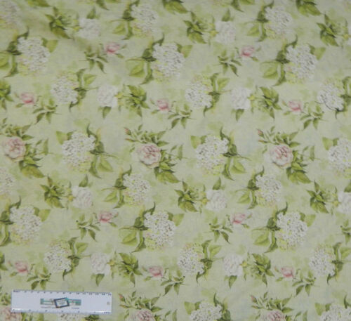 Quilting Patchwork Sewing Fabric ROMANTIC FLORAL PALE GREEN Cotton 50x55cmFQ ...