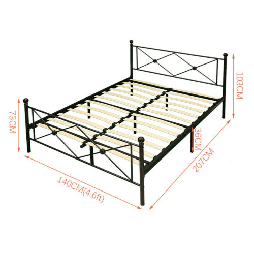 Traditional Single Double Bed Frame 3ft 4ft6 Metal Bed Adults Kids Children Bed
