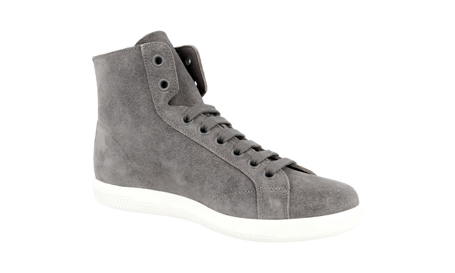 AUTH HIGH TOP TOP HIGH PRADA SNEAKERS SHOES 4T3149 GREY SUEDE NEW US 10 EU 43 43,5 9580b5