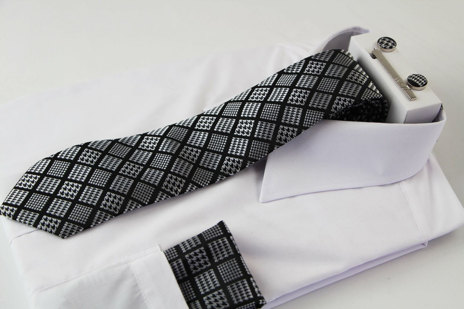 Mens Black & Silver Houndstooth Checkered Neck Tie, Pocket Square, Cuff Links
