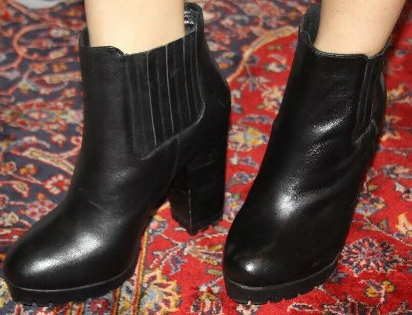 STEVE MADDEN ANKLE GABRELLA FASHION ANKLE MADDEN BLACK LEATHER BOOTIE SZ 9.5 a0379f