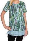 NEW LOGO BY LORI GOLDSTEIN Printed Cotton Modal Knit Top w/ Chiffon Trim 254565