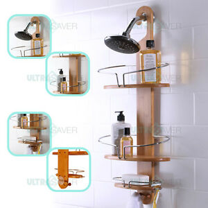 Image Is Loading NEW Bathroom Bamboo Shower Caddy Stainless Steel With