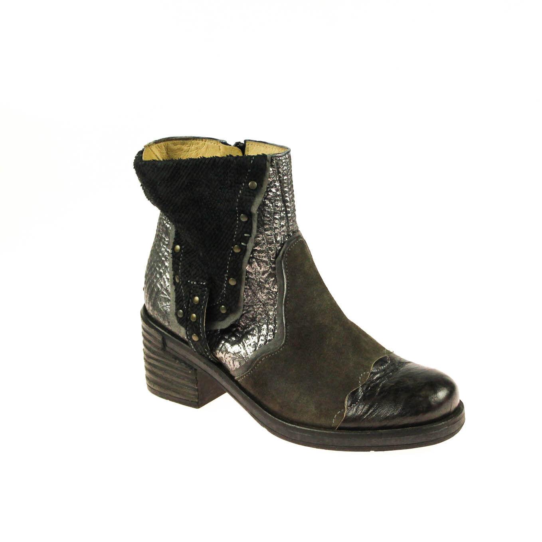 Encanto señora botín semi zapato de cuero negro multicolor plata marrón Taupe multicolor negro 33359c