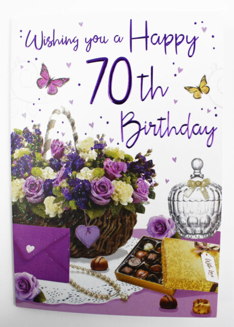 Womens Happy 70th Birthday Greeting Card Envelope Seal Quality Verse Age Her