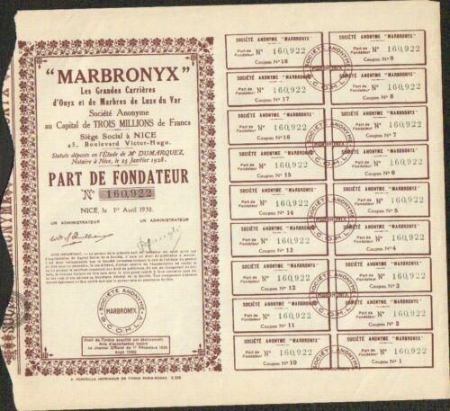 MARBRONYX GRANDES CARRIÈRES d' ONYX & Marbres de Luxe du Var (NICE 06) ( V)