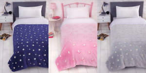 Glowing-Bed-Throw-Glow-in-The-Dark-Stars-Unicorn-Bedding-Childrens-Cover-Over