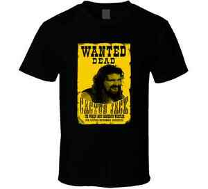 4439a318456cb3 Cactus Jack Mick Foley Yellow Poster Wanted Dead mens Black Classic ...