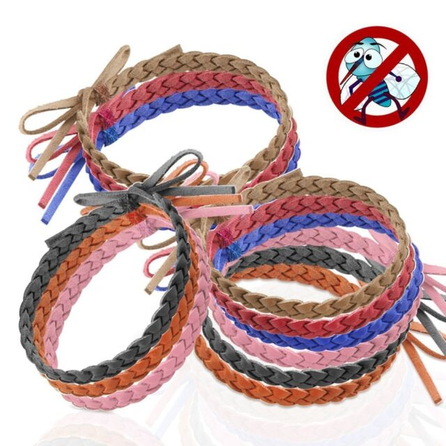 Mosquito Repellent Bracelet 12 Pack Leather Insect Protection Wrist Bands Deet