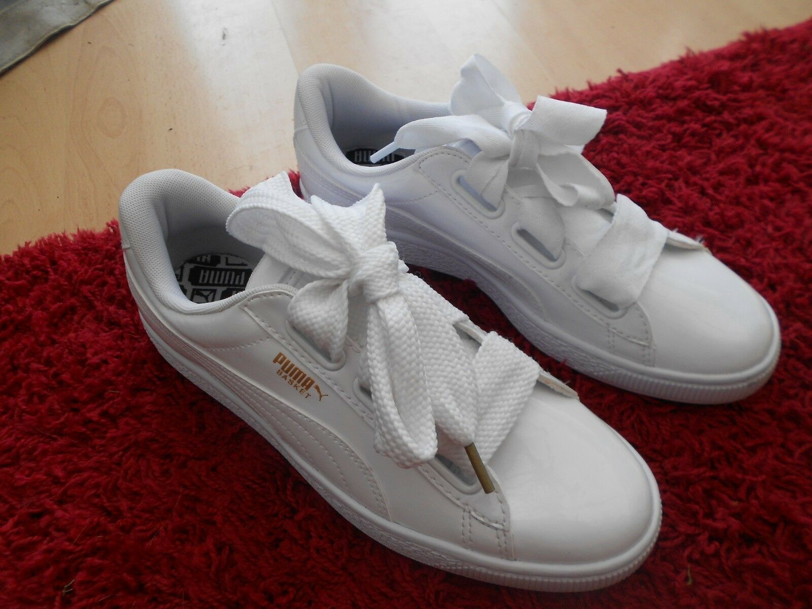 WOMENS PATENT WHITE BASKET PUMA HEART   TRAINERS UK SIZE 7.5 - WORN ONCE