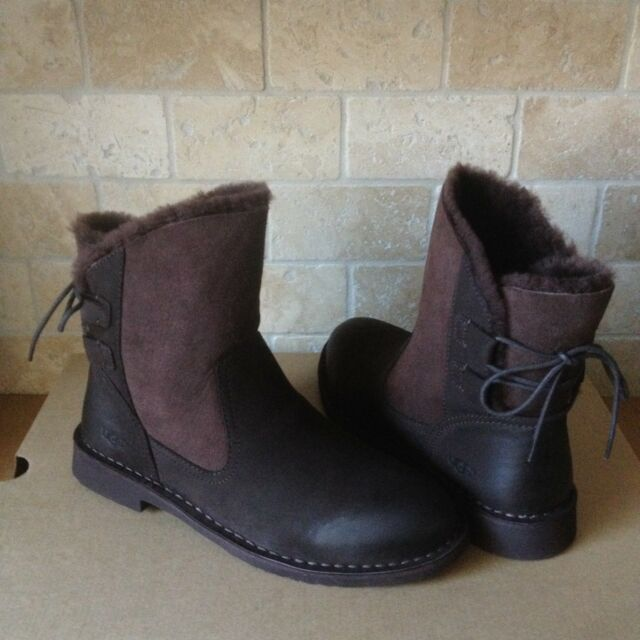 60a98605a30 UGG Naiyah Stout Fur Leather Lace-up Bow Ankle Boots Booties Size US 10  Womens