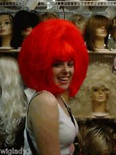 WIGS DRAG QUEEN FUN BANGS STRAIGHT RED PAGE POINTY BOB THICK TEASED VOLUME