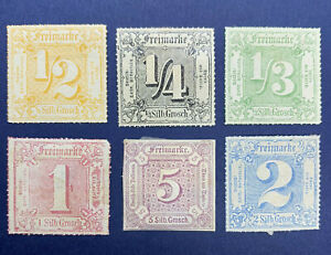 THURN AND TAXIS MH STAMP LOT 1850s-60's, 2 STAMPS ARE SIGNED