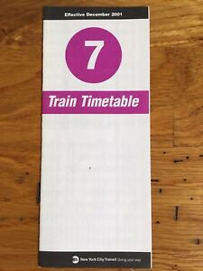 Ny Subway Map 7 Train.Details About 2001 New York City Subway 7 Flushing Line Train Timetable Map Schedule Nyc