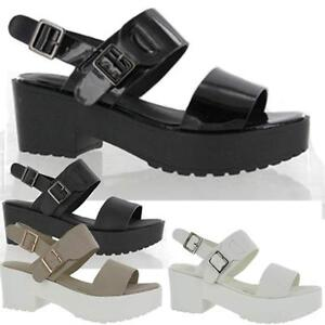 Ladies-Sandals-Womens-Block-Chunky-Heels-Strappy-Platform-Cleated-Beach-Shoe-Siz