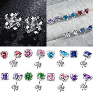 925-Silver-Geometric-Square-Heart-Crown-Zircon-Ear-Stud-Earrings-Women-Jewelry