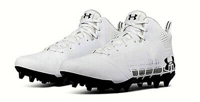 UNDER ARMOUR Mens Black 1240672 On-Field Ripshot Lacrosse Football Cleats New