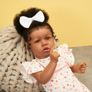 22/'/' Reborn Baby Girl Doll Full Body Vinyl Black African American Kids Gift Bath