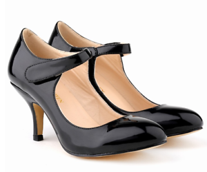 Women-Mid-Kitten-Heels-Ankle-Strap-Pumps-Faux-Leather-Sexy-Cocktail-Party-Shoes