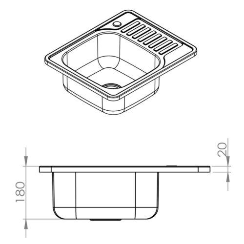 Spüle 58CM Edelstahl Einbauspüle eckig Ablage Spülbecken Küchenspüle Spüle