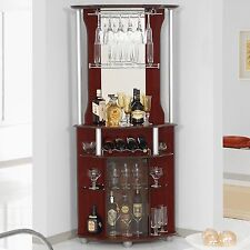 Corner Home Bar Cabinet Wine Bottle Storage Stemware Rack Liquor Pub Furniture