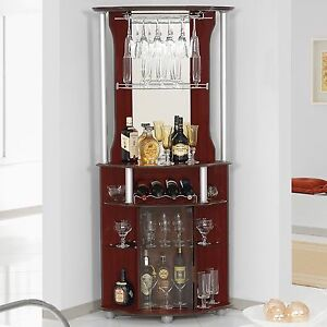 Corner Home Bar Liquor Cabinet Pub Furniture Wine Bottle Storage Stemware Rack 5314655423639 Ebay