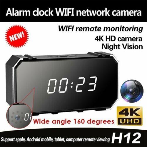 4K Camera full HD 1080P WIFI Mirror Wireless Security Alarm Clock Night Vision