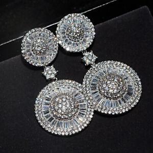5-00-Ct-Round-amp-Baguette-Cut-Diamond-14K-White-Gold-Finish-Drop-Dangle-Earrings