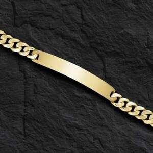 14k-Solid-Yellow-Gold-Handmade-Men-039-s-ID-Curb-Link-Bracelet-6-5-mm-22-grams-8-5-034