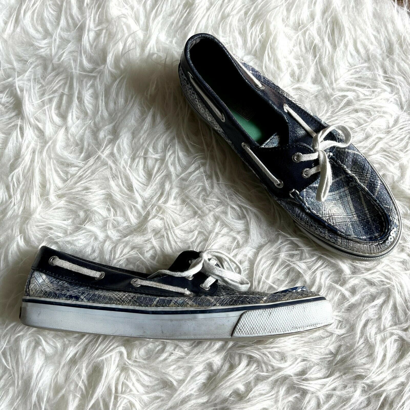 Sperry Top Sider 8.5 Blue White Plaid Sequined Boat Shoes Loafers