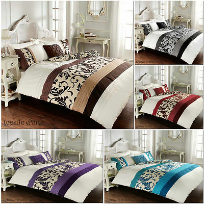 Stripes Pintuck Scroll Luxury Duvet Covers Quilt Covers Reversible Bedding Sets