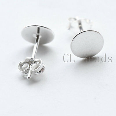 2pcs (One Pair) S925 Sterling Silver Earring Post Glue On - 7mm