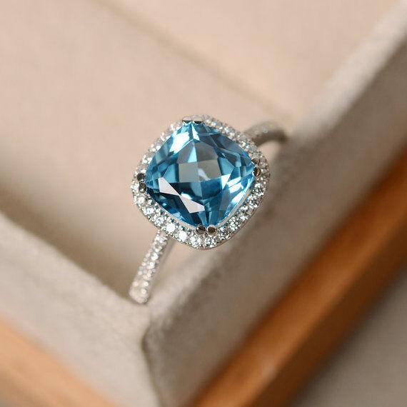 2.70 Ct Topaz Diamond Engagement Ring Cushion Cut 14K White gold Size 7.5